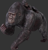 Female Gorilla with Baby Life Size Statue