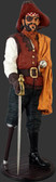 Pirate Captain Wooden Leg Statue Life Size
