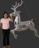 Silver Reindeer Statue Hanging Life Size