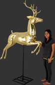 Gold Reindeer Statue Jumping On Stand