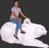 Polar Bear with Cub Life Size Statue