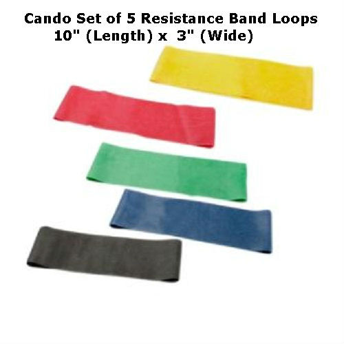 """Cando Resistance Band Exercise Loops - Set of 5 - All Resistances  -10"""" Length"""
