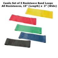 "Cando Resistance Band Exercise Loops - Set of 5 - All Resistances  15"" Length"