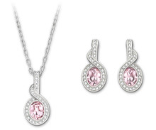 Swarovski Tyra Rose Earrings and Pendant with Necklace Set