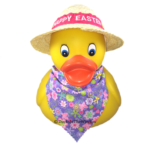 Custom Happy Easter Jumbo Rubber Duck with straw bonnet and scarf