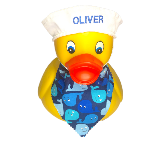Personalized Rubber Duck with Sailor's Cap & Bandana | Ducks in the Window