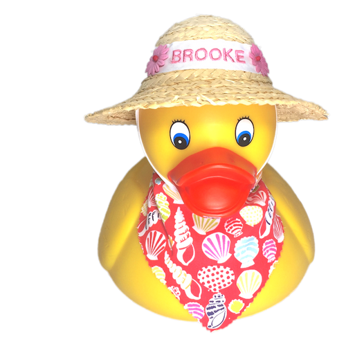 Personalized Rubber Duck with handcrafted Straw Bonnet and matching scarf | Ducks in the Window
