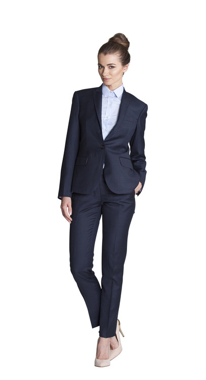 Unique  Allard Ellen Tracy S 4 Womens Blazer Pant Suit Navy Blue 100 Wool