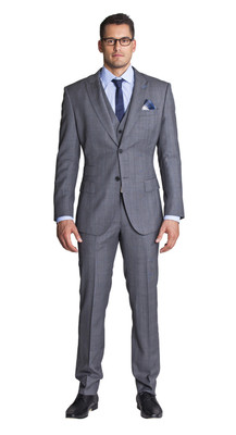THE GREY WITH BLUE CHECK THREE PIECE SUIT