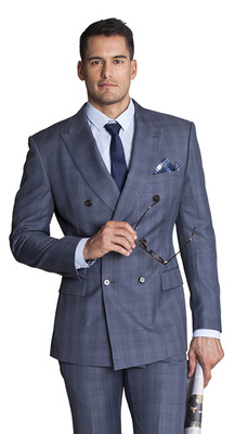 THE BLUE CHECK DOUBLE-BREASTED BLAZER