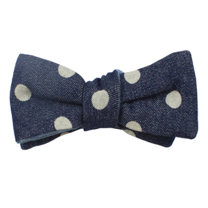 THE POLKA DOT DENIM BOW TIE (SELF-TIE)