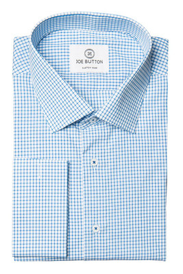 Morris Light Blue Check Broadcloth