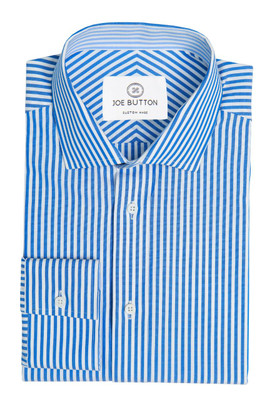 Callum Blue and White Stripe Poplin