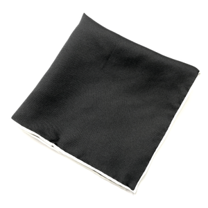 Black Silk Pocket Square (White Trim)