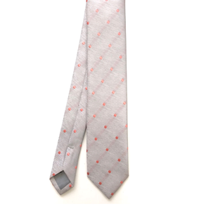 Grey and Coral Polka Dot Tie