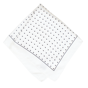 White & Black Polka Dot Silk Pocket Square
