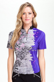 42168 -   Lynx Crunched Print in Jet/Indochine Short Sleeves Polo