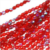 Czech Glass Fire Polish 4mm Siam Red Ruby AB (50)