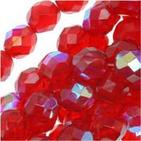 Czech Glass Fire Polish 8mm Siam Red Ruby AB (25)