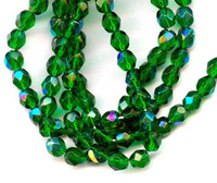 Czech Glass Fire Polish 6mm Emerald Green AB (25)