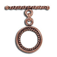 Bali Style Copper Toggle Swirl Design 15.5mm