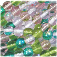 Czech Glass Druk 4mm Round Lavender Garden Mix  (100)