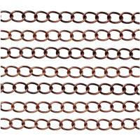 Antique Copper Plated Twisted Curb Chain 7x4mm (By the Foot)