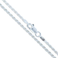 Sterling Silver 3mm Rope Chain With Lobster Clasp - 18 Inches