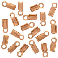 Genuine Copper Foldover 7mm Cord Ends For Leather (x50)
