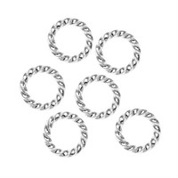Silver Plated Twisted Open Jump Rings 8mm 16 Gauge (25)