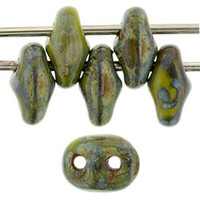 SuperDuo, Czech Glass 2-Hole Seed Beads 5.5x2.5mm, Opaque Olive Picasso, 22 Grams