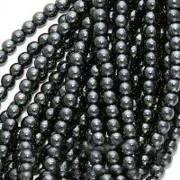Czech Glass Druk 4mm Round Hematite