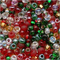 Czech Seed Beads 8/0 Deck The Halls Christmas Mix (1 ounce)