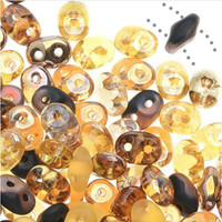 SuperDuo, Czech Glass 2-Hole Seed Beads 5.5x3.5mm, Wild Honey Mix, 22 Grams,