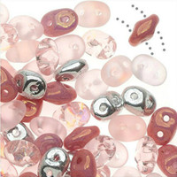 SuperDuo, Czech Glass 2-Hole Seed Beads 5.5x2.5mm, Barely Pink Mix, 22 Grams,