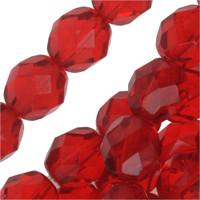 Czech Glass Fire Polish 8mm Siam Red Ruby  (25)