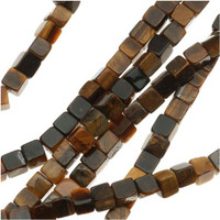 Tiger Eye 4mm Cube Beads 16 In. Strand