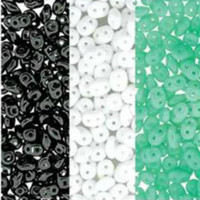 SuperDuo Czech Glass Seed Beads 2.5 x 5mm Black, White and Turquoise Mix - 72 Grams
