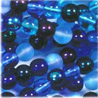 Czech Glass Druk 4mm Round Blue Tones Mix (100)