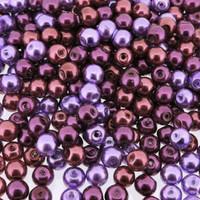 UnCommon Artistry Glass Pearl Mix 100pcs 8mm - Purple Passion Mix
