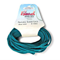 Genuine Natural Suede Leather Lace Cord 4mm Turquoise 5 Yards