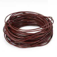 15 Ft of Brown Genuine Leather Cord Round 1mm Diameter
