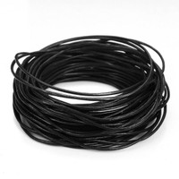 15 Ft of Black Genuine Leather Cord Round 1mm Diameter