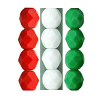 Czech Glass Fire Polish 6mm Red, White and Green Christmas Mix (75 pcs)