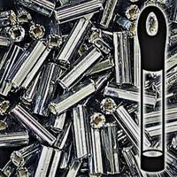 Czech Bugle Beads Size 2 Black Diamond Silver Lined (24 Grams)