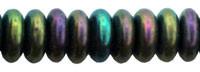 Czech Pressed Glass Rondelle  6x2mm Green Iris  (50)