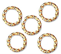 Gold Plated Twisted Open Jump Rings 6mm 18 Gauge (50)
