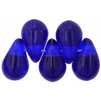 Czech Glass Beads 9mm Teardrop Cobalt (50)