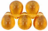 Czech Glass Beads 9mm Teardrop Amber Topaz (50)