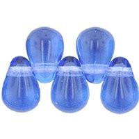 Czech Glass Beads 9mm Teardrop Light Sapphire (50)